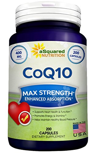 Pure CoQ10 (400mg Max Strength, 200 Capsules) - High Absorption Coenzyme Q10 Ubiquinone Supplement Pills, Extra Antioxidant CO Q-10 Enzyme Vitamin Tablets, COQ 10 for Healthy Blood Pressure & Heart -