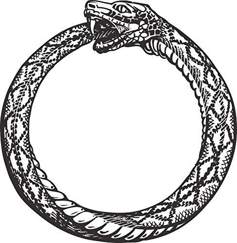 Eating Snake - Retro Vintage Ouroboros Snake Eating Tail Ring Cartoon Icon Vinyl Decal Sticker (8