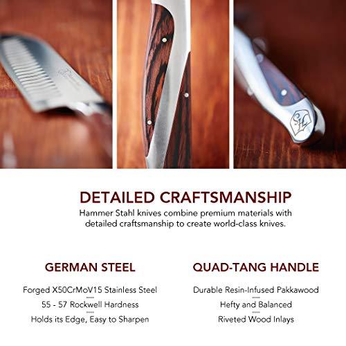 Hammer Stahl 6-Inch Boning Knife - German High Carbon Steel - Curved Flexible Blade for Boning, Filleting, and Trimming… Salted Salad