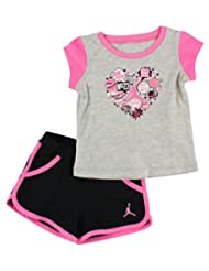 Jordan Baby Girls Infants Graphic Heart Two Piece Shorts Set Grey