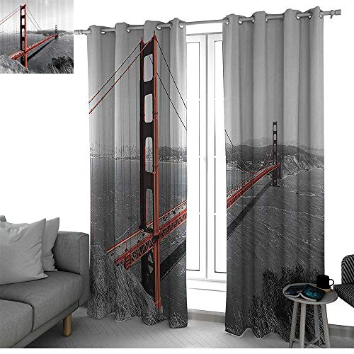 (Apartment Decor Collection Best Home Fashion Wide Width Thermal Insulated Blackout Curtain Golden Gate Bridge Civil Engineering History Monochromatic Travel Destinations View Window Curtains Dimgray)