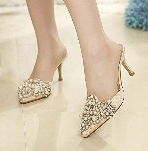 WZG Baotou nouvelles chaussures pointues bouche peu profonde mince couleur  du talon diamant perlées à talons hauts sandales et pantoufles Mme:  Amazon.fr: ...