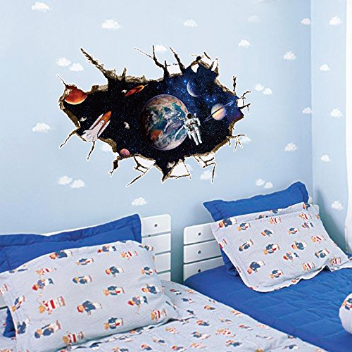 Wapel The Space Of The Universe 3D Plane Three-Dimensional Wall Stickers Children Bedroom Sticker 6090Cm,A