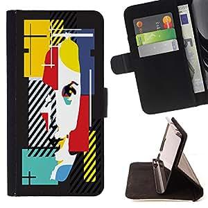 Skull Market - FOR Samsung Galaxy Note 4 IV - just be careful. - Caja de la carpeta del tir¨®n del cuero de la PU [con ranuras para tarjetas y cierre de solapa magn¨¦tica] P¨¢rese cubierta de la caja
