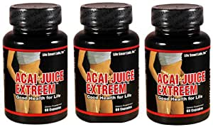 1300 mg Acai  Juice Extreem TM (3 Bottles) New Stronger Potency HIGH POTENCY ACAI Berry Natural Nutrition, Energy 3 Months 180 Caps, 1300 Mg, Acai Juice Extreme