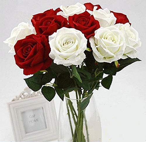 Homcomoda 12pcs Artificial Flowers Flannel Rose Flower Fake Blossom Bridal Bouquet for Wedding Home Garden Decor (White and Red)