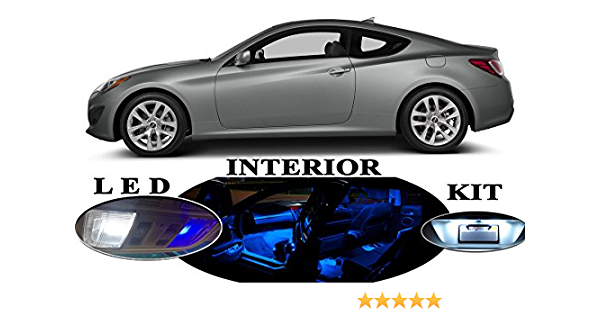 For Hyundai Genesis Coupe 10-15 Blue Interior LED Light Kit White License Light