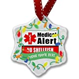 Personalized Name Christmas Ornament, Medical Alert Red No Shellfish NEONBLOND