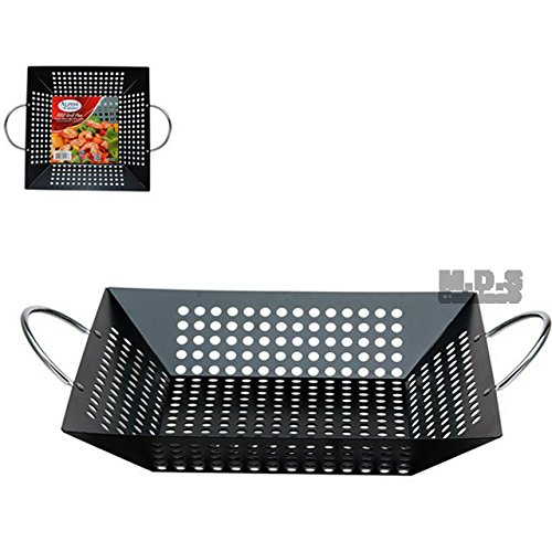 Grill Pan BBQ Carbon Steel W/ Nonstick Coating Wok Cooking 12'' Square Basket