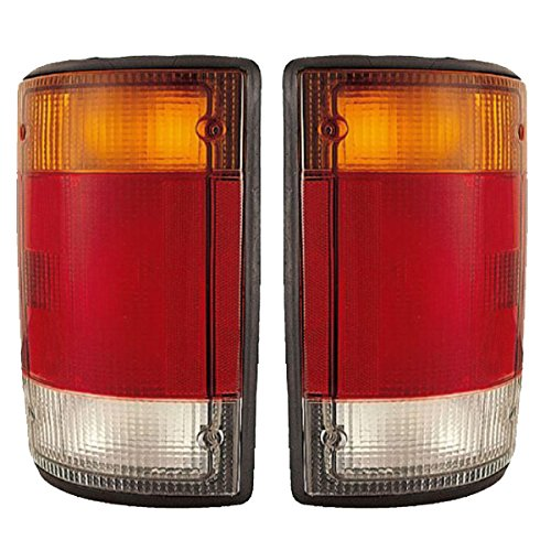 1992-1993-1994 Ford Econoline E-Series Van E150 E250 E350 Taillight Taillamp Rear Brake Tail Light Lamp Pair Set Right Passenger AND Left Driver Side (94 93 92) ()