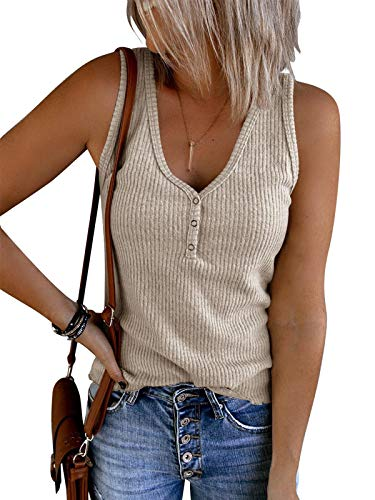 Ybenlow Womens V Neck Tank Tops Sleeveless Henley Shirts Ribbed Knit Button Up Casual Vest Blouse Tees Beige