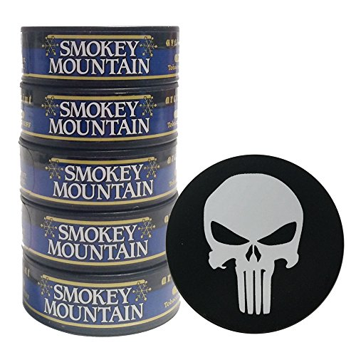 Smokey Mountain Herbal Chew or Snuff - 5 Cans - Includes DC Skin Can Cover (Arctic Mint) (Punisher Skin) (Cut Long Skoal)
