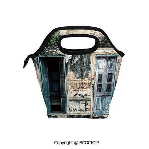 Lightweight Portable Picnic tote lunch Bags Doors of An Old Rock House with French Frame Details in Countryside European Past Theme lunch bag for Employee student Worker.