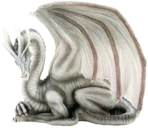 "Custom & Unique {6.5"" x 6.25"" Inch} 1 Single, Home & Garden ""Standing"" Figurine Decoration Made of Grade A Resin w/ Beautiful Flying Dragon Curled Up In a Ball Resting {Grey, White, & Black} (Dragon Curled)"