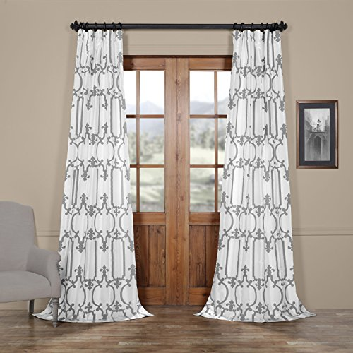 Half Price Drapes Ptfflk-C32E-108 Royal Gate Flocked Faux Silk Curtain, 50 x 108, Buff and Silver