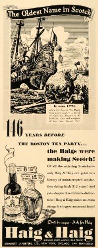 1939 Ad Haig Haig Boston Tea Party Whisky Scotch Liquor - Original Print Ad (Tea Liquor)