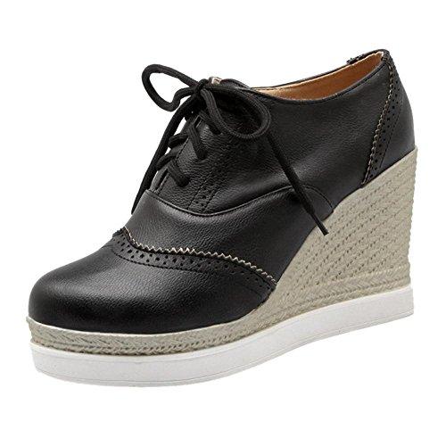 Coolcept Zapatos Atados de Tacon Cuna para Mujer Black