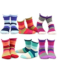 TeeHee (Naartjie) Kids Girls Cotton Crew Basic Roll Top Socks 6 Pair Pack