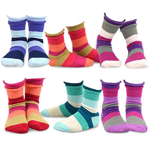 TeeHee Kids Girls Cotton Crew Basic Roll Top Socks 6 Pair Pack (9-10Y, Indian Stripe)