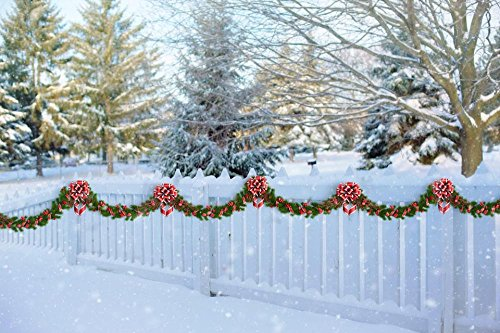 Decorated Picket Fence (LAMINATED 36x24 inches Poster: White Picket Fence Christmas Garland Fence Winter Picket White Snow Holiday Xmas Season Celebrate Decoration Decorated Rural)