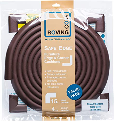 Roving Cove | Baby Proofing Edge & Corner Guards | Safe Edge & Corner Cushion | Child Safety Furniture Bumper | Table Protectors | Pre-Taped Corners | 16.2 ft [15 ft Edge + 4 Corners] | Coffee brown by Roving Cove (Image #5)