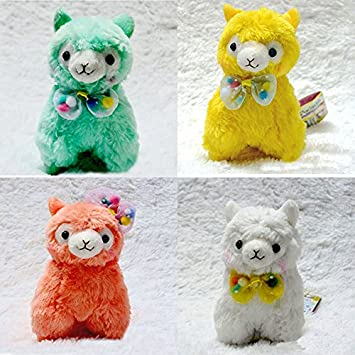 4pcs/set Kawaii Japanese Alpaca Plush Toys Doll 4 Colors Small Peluche Alpacasso With BowKnot