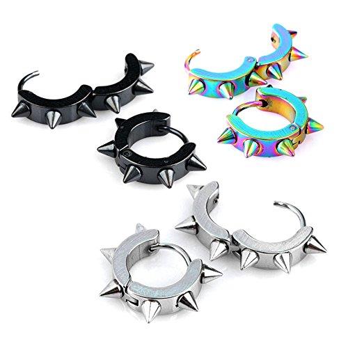 Jovivi Men Women Jewelry Stainless Steel Hoop Spike Punk Earring,3 Pairs (Spike Earring Hoop)