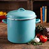 The Pioneer Woman Vintage Speckle 12-Quart Stock Pot with Hollow Side Handles (Turquoise)