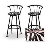 2 Animal Zebra Print Black Swivel Barstools