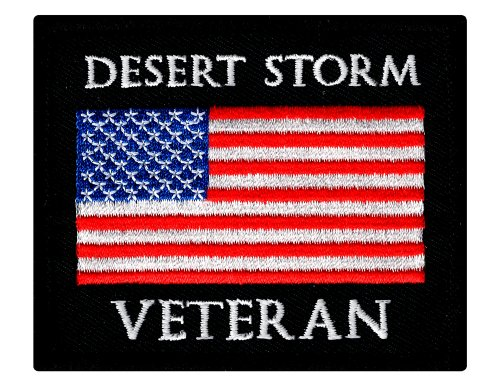 Desert Storm Veteran Embroidered Patch US Military Vet Iron-On Emblem Flag - Military Vet Patch