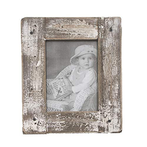 kuip Design 8x10 Picture Frame Rustic Distressed Weathered Reclaimed Wood Cream Stand with Easel Back Horizontally or Vertically on The Tabletop -