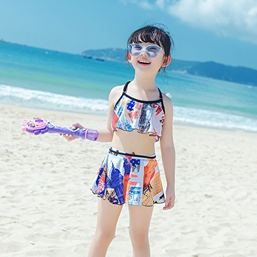 Girl's suit M HAIYOUVK Parenting Models petit Chest Gatherouge Split jupe Female maillot de bain Wet and Dry plage Pants A Three-Piece maillot de bain
