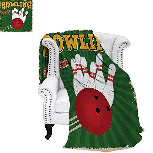 warmfamily Vintage Digital Printing Blanket Bowling Balls and Pins Design Western Sport Hobby Leisure Winner Artsy Art Print Lightweight Blanket 60