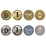 Cryptocurrency Gift Set, JARAGAR 8PCS Bitcoin (BTC) Litecoin (LTC)Ripple (XRP) Ethereum(ETH) Gold & Silver Coins Bitcoin Coin Collectors Set for Crypto Fans