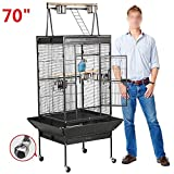Yaheetech Pet Bird Cage Play Top Parrot Cockatiel Cockatoo Parakeet Finches with Rolling Stand 70''