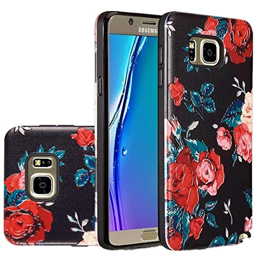 [ Storm Buy ] ART POP Series 3D Embossed [Galaxy Note 5 ] Sturdy Rubber Hybrid Dual Layer Protective Case Cover For [ Samsung Galaxy Note 5 ](Black Rose)