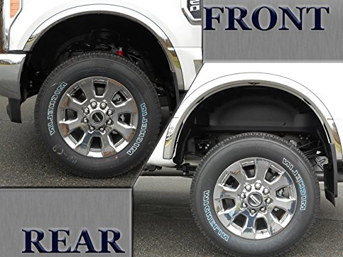 QAA FITS F-250 & F-350 Super Duty 2017-2019 Ford (4 Pc: Stainless Steel Fender Trim - Clip on or Screw in, Hardware Included - 2.1