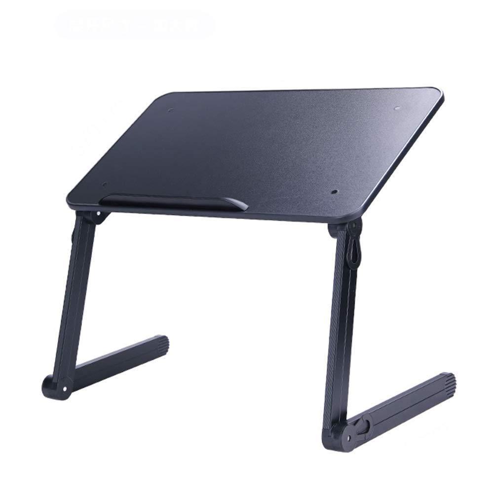 Folding Table Portable Laptop Table, Ergonomic Laptop Desk Breakfast Bed Tray Book Holder (Color : Black)