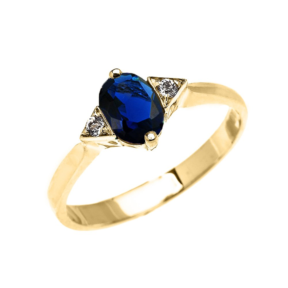 Fine 10k Yellow Gold Solitaire Sapphire and White Topaz Proposal/Engagement Ring (Size 10)