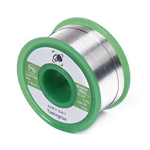 Lead Free Solder Wire Sn99.3 Cu0.7 with Rosin Core for Electrical Soldering 100g (0.6 mm) by TAMINGTON (Electronic Copper)