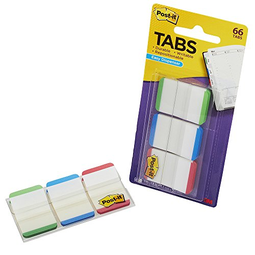 Post-it Tabs with On-the-Go Dispenser, 1-Inch Lined, Green, Blue, and Red, 22-Tabs/Color, 66-Tabs/Dispenser
