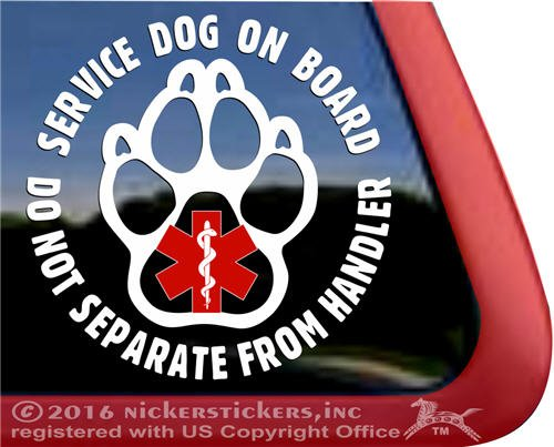 SERVICE DOG ON BOARD Do Not Separate From Handler All Weather Vinyl Decal Sticker