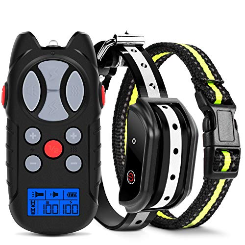Flittor Shock Collar for Dogs, 2019 Newest Dog Training Collar, Rechargeable Dog Shock Collar with Remote, 3 Modes Beep Vibration and Shock 100% Waterproof Bark Collar for Small, Medium, Large Dogs (Pets Dogs For Collar)