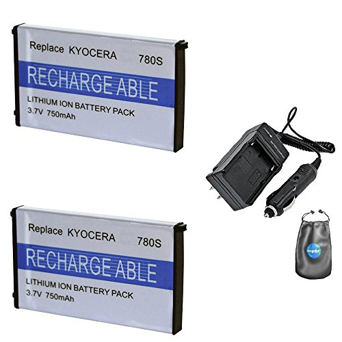 Amsahr S-KYBP780S-2CT, Pack-2, Digital Replacement Battery Plus Travel Charger for Kyocera BP780S, Finecam - Includes Lens Accessories Pouch ()