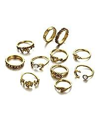 Retro Rose Leaf Flower Moon Stackable Ring11 Pcs Metal Knuckle Fingers Rings Set for Women