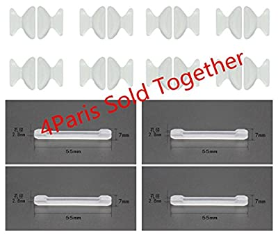 8 Pairs Anti-Slip Nose Pads and Antiskid Ear Pads for Eyeglass Sunglass Glasses Spectacles,Made of Silicone