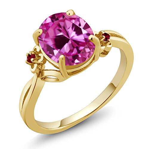 3.28 Ct Oval Pink Created Sapphire Red Created Ruby 14K Yellow Gold Ring (Ring Size 7) (Designer Gold Red Ring)