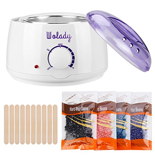 Wax Warmer Hair Removal Wolady Hot Wax Warmer Home Waxing Kit Wax Melts Electric Wax Heater DIY Depilatory Machine with 4 Flavors Hard Wax Beans and 10 Wax Applicator Sticks by Wolady