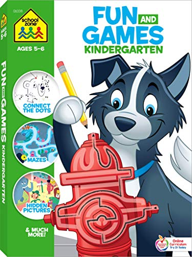 School Zone - Fun and Games Kindergarten Activity Workbook - 320 Pages, Ages 5 to 6, Mazes, Dot-to-Dots, Learn to Draw, Cut-and-Fold, What's Different, and More (School Zone Big Workbook Series)