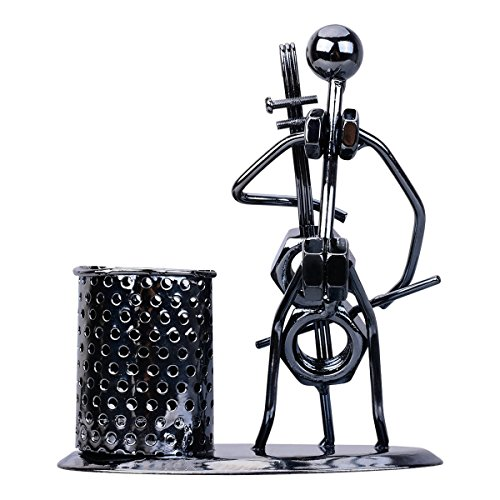 YChoice Cello Novelty Iron Crafts Pen Holder With Musician Artist Pattern Pen Holder (Cello Fountain Pen)
